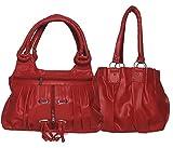 Arc HnH Women Combo Handbag Fancy Ring+ Pretty - Red