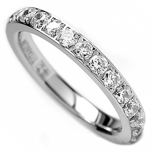 3MM Ladies Titanium Eternity Engagement Band, Wedding Ring with Pave Set Cubic Zirconia Size 7 (Titanium Wedding Rings For Women compare prices)