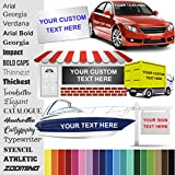 Design Your Own (20 Sizes + 18 Fonts + 16 Colors) Custom Vinyl Sticker | Car Window, Boat, Yeti Lettering JDM Automotive Windshield Graphic Name Letter Auto Vehicle Door Banner Sign Personalized Decal