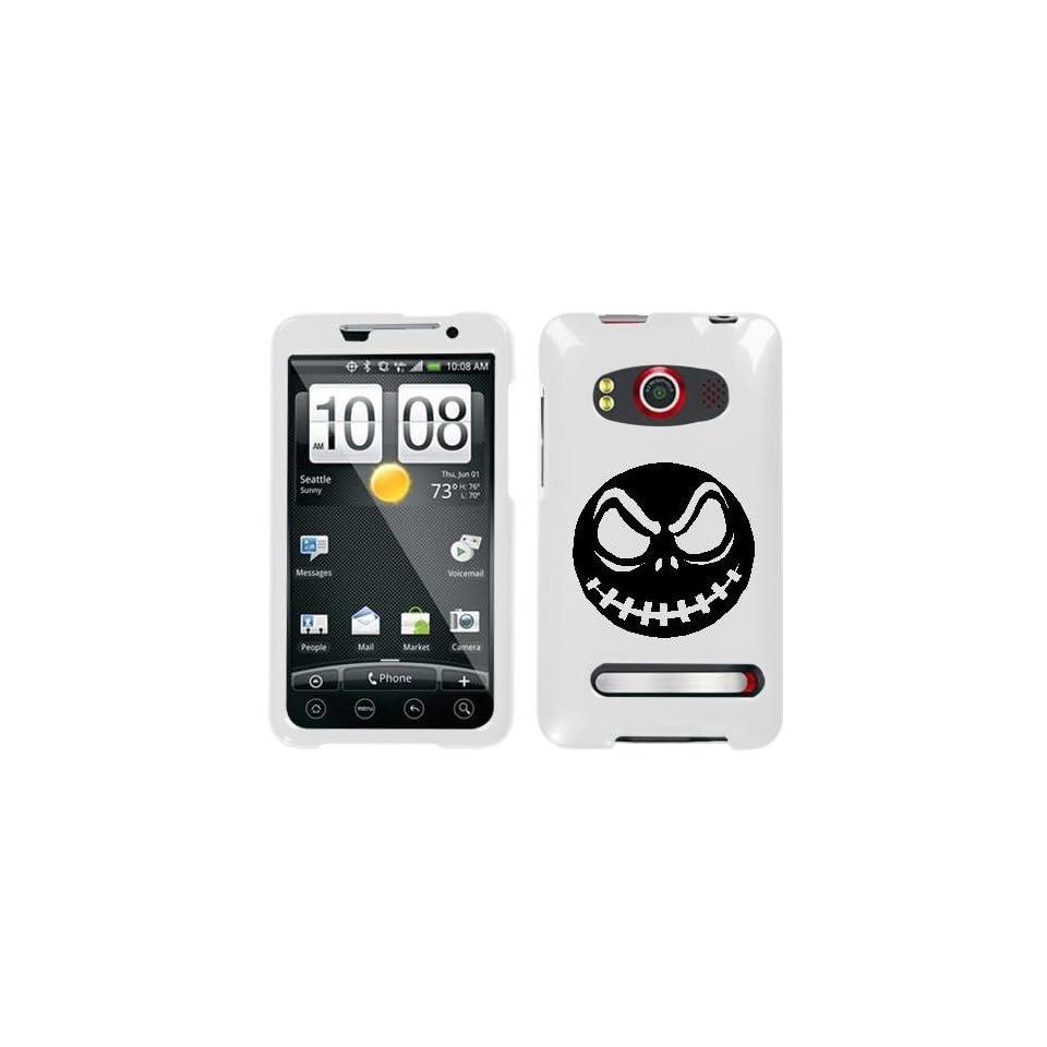 HTC EVO 4G BLACK JACK SKELLINGTON ON A WHITE HARD CASE COVER