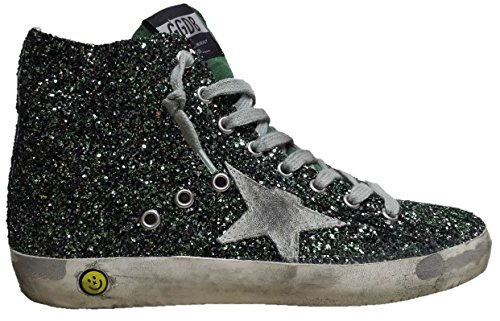 GOLDEN GOOSE SNEAKERS FRANCY HIGH TOP ESMERALD GLITTER VERDE SMERALDO G28KS502.Q3 TAGLIA 27