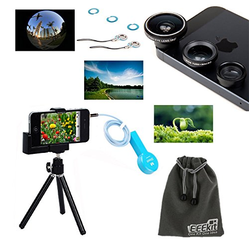 Eeekit Photo Shooting Kit For Iphone 5 5C 5S 4S, Retractable Universal Mini Tripod Stand Camera Video Holder Mount + Remote Control Camera Shutter Release Cable + Fish Eye Lens + Wide Angle + Macro Lens+Eeekit Storage Pouch+ Lens Cleaning Cloth