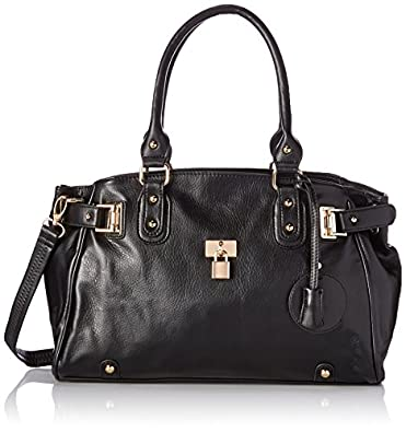 MG Collection Lucca Glamour Padlock Shopper Zipper Hobo, Black, One Size