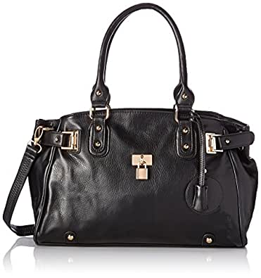MG Collection Lucca Designer Inspired Glamour Shopper Tote Handbag, Black, One Size
