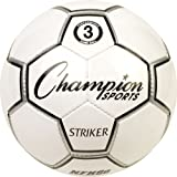 Champion Sports Striker Size 3 Match Play Soccer Ball, 3/White/Black/Silver