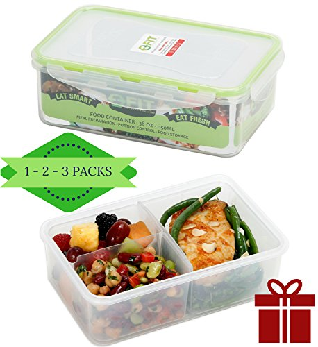 Meal Prep Containers (38oz) by FIT, Strong & Healthy | Premium Leak Proof Bento Lunch Box for Portion Control | Configurable Removable Compartments | Reusable Food Storage Container | Healthy Eating (Deep Freeze Organizer compare prices)