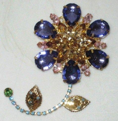 Designer Style Pastel Color Crystal Rhinestone Flower Brooch / Pin
