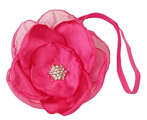 PinkXenia Organza Fuschia Pink Flower Baby Baptism Newborn Soft Headband