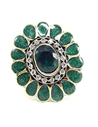 Aria Party Wear Green Kundan CZ Gold Plated Adjustable Finger Ring Fr228