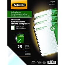 Fellowes Transparent PVC Binding Covers, Oversize, 25 per Pack (52309)