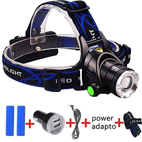 Kuman Waterproof LED Headlamp Flashlight with Zoomable 3 modes 1000 Lumens light, Cree T6 hands-free headlight Rechargeable Head Torch lamp for biking camping hunting running rainy weather KH12
