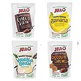 JELL-O Simply Good Instant Pudding Dessert Mix Variety Pack - Chocolate Carame, Chocolate, Vanilla Bean, Banana 3.0 oz ea