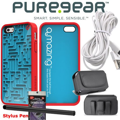 Special Sale PureGear A Maze Ing Gamer Blue and Red Slim Shell Cover Case for iPhone 5 with Stylus Pen, 10 ft charging cable, Case that fits your phone with the Cover on it and Radiation Shield.
