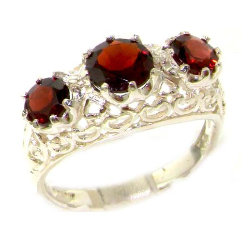 Quality Solid Sterling Silver Genuine Garnet English Filigree Trilogy Ring - Size 12 - Finger Sizes 5 to 12 Available - Suitable as an Anniversary ring, Engagement ring, Eternity ring, or Promise ring