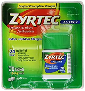 Zyrtec Allergy Relief Tablets, 70 Count