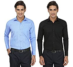 FOCIL Black & Sky Blue Formal Wear Combo Shirt for Men (Pack of 2)