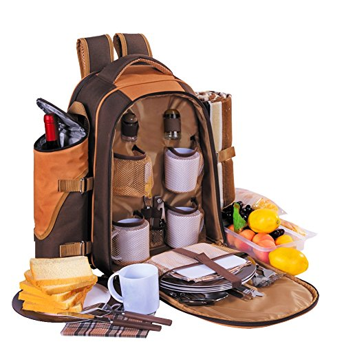 New Apollowalker® Picnic backpack 4 picnic basket Dark blue Perfect for Picnic, Outdoor, Sports, Hi...