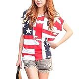 CMGD Womens Ladies American Flag Print Tee Shirt USA Tops T-shirt