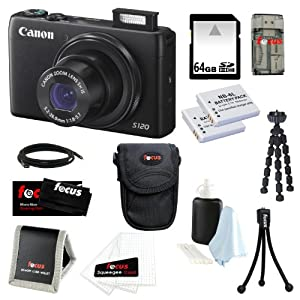Canon PowerShot S120 12.1 MP CMOS Digital Camera Bundle with 64GB SD Memory Card + Two Replacement Batteries for NB-6L + Deluxe Point & Shoot Camera Case + 7-inch Spider Tripod and Accessory Kit