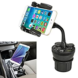 iKross Universal Adjustable Car Vehicle Cup Holder Mount with 3 Sockets and 2 USB charging port 2.1A - Black For iPhone 5S 5C 5 4S, LG Lucid 3, G Pro 2, G 2, Google Nexus 5, Motorola Moto X, Moto G Droid Mini, Samsung Galaxy S5 S4, Galaxy Note 3 2 and more