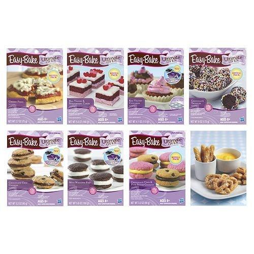 easy-bake-oven-refills-set-of-8-kits-truffles-cakes-pies-pretzels-cookies-pizza