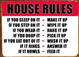 House Rules, Decorative Steel Wall Plaque. A humorous, fun, novelty, christmas gift (N25)