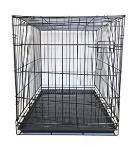 YML 42-Inch Dog Kennel Cage with Wire Bottom Grate and Plastic Tray, Black