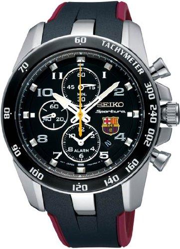 Seiko Sportura FC Barcelona Chronograph Black Dial Mens Watch SNAE93