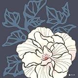 綿二巾風呂敷(ふろしき)芙蓉(紺) 【花百様】二巾(75㎝幅