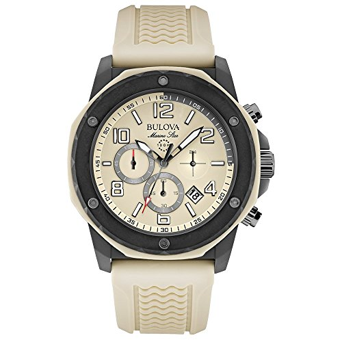 Bulova Marine Star Men's Quartz Watch with Beige Dial Analogue Display and Beige Rubber Strap 98B201