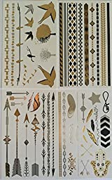 Temporary Tattoos, 4 Pages of Beautiful Black, Silver and Gold Tattoo Jewelry, Bracelets, Stars, Bands, Birds, Trees, Arrows, Feathers and More by Twink Designs