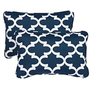 Mozaic Sabrina Corded Indoor/Outdoor Throw Pillows, 13 by 20-Inch, Scalloped Navy, Set of 2 from Mozaic Dropship