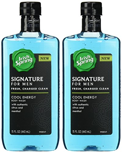 Irish Spring Signature For Men Body Wash - Cool Energy - With Authentic Citrus & Menthol - Net Wt. 15 FL OZ (443 mL) Per Bottle - Pack of 2 (Shower Menthol compare prices)