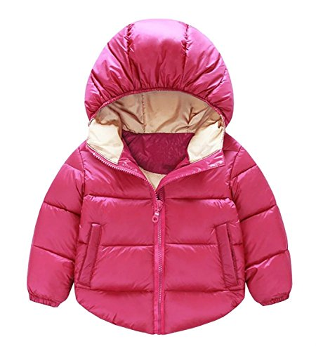 Toddler Baby Boys Girls Outerwear Hooded coats Winter Jacket Kids Clothes, 3-4 Years, Rose (Down Jacket Kids compare prices)