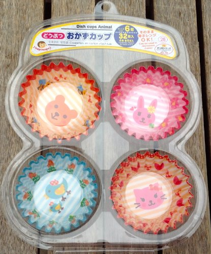Colorful Japanese Cupcake Dish Snack Cases for Girls (Cat, Teddy Bear, Bunny, Chick) - 1