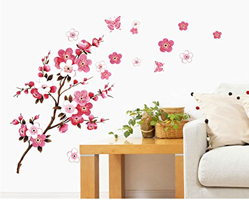 SWORNA Nature Series Branch Pink Flowers & Butterfly Removable Vinyl Mural Wall Art Decor Home Stickers Decals Bedroom/Hallway/Sitting/Living Room/Kids Nursery (29.5''H X 65''W, Brown & Pink,X-L) (Brown Butterfly Decals compare prices)
