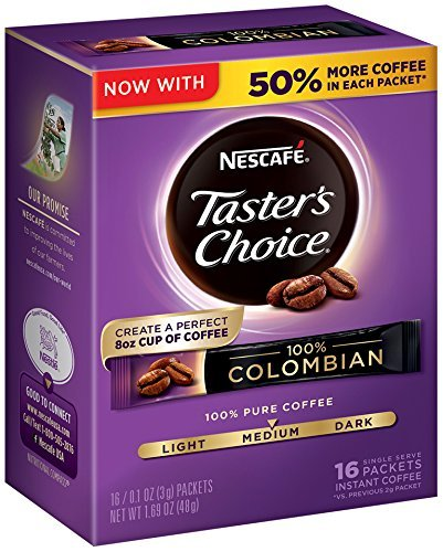Nescafe Taster's Choice 100% Colombian 16 Piece Instant Coffee Single Serve Sticks, 1.69 oz (Instant Coffee Single Packs compare prices)