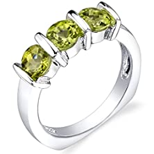 buy 1.75 Carats Round Cut Peridot Ring In Sterling Silver Rhodium Nickel Finish Size 8