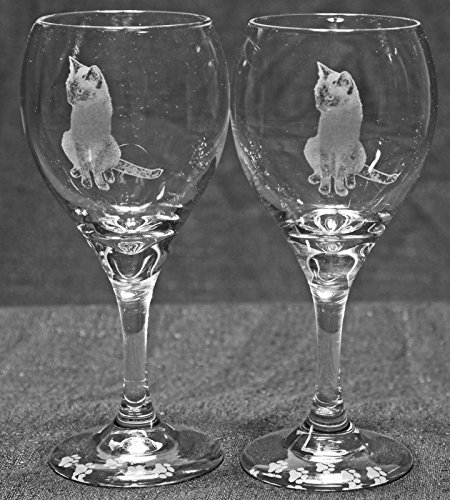 Siamese Cat Laser Etched Wine Glass Set (2, TDW)