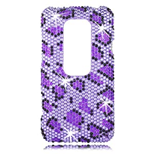 Talon Full Diamond Bling Phone Shell for HTC EVO 3D - Leopard - Sprint - 1 Pack - Case - Retail Packaging - Purple/Black