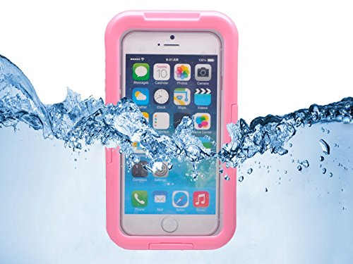 Queens® Waterproof Case Cover For Apple Iphone 6 4.7 Inch, Dustproof Snowproof Shockproof Premium Slim Hard Armor Protective Advanced Shock Absorbing Fit Cover Case With Screen Protect And Touch Pen For Apple Iphone 6 (4.7 Inch 2014 Release)(1-Pink)