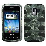 Hybrid Design Camo Green /Black Protector Case for LG Optimus Slider (LS700/VM701)) / LG Enlighten / LG Gelato Q (VS700)