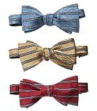 Horizontal Stripe Bow Tie (GOLD STRIPE, ONE SIZE)