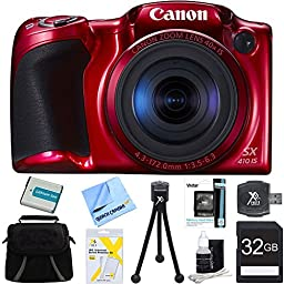Canon Powershot SX410 IS Red Digital Camera and 32GB Card Bundle - Includes 32GB Memory Card, Carrying Case, NB-11L Battery, Memory Card Wallet, SD Card Reader, 5\
