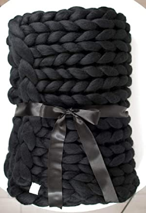 clootess Chunky Merino Wool Yarn Bulky Big Roving for DIY Hand Made Knit Blanket Throw - Black 5 lbs (Color: Black, Tamaño: 5 lbs)