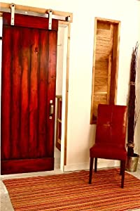 Modern Rolling Barn Door Hardware Wooden Wheel Style - 6 Ft Raw Steel Finish