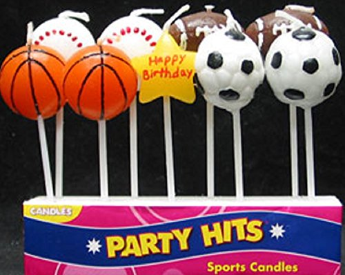 Oasis Supply 9-Piece Sports Balls Cupcake Cake Decorating Candles Set - 1