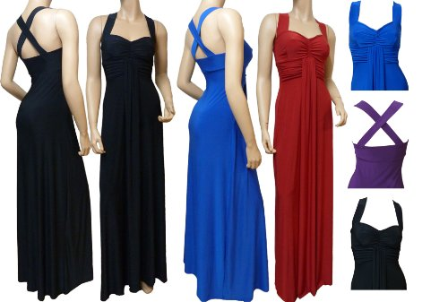 Lady Rich Elegant Long Cross Back Maxi Dress (D1010) UK Size 10 - 22 (Available in 4 lengths)