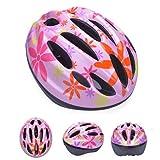 HORIZON 軽量 サイクリング 自転車 用 ヘルメット キッズ ジュニア 子供 用 ダイヤル アジャスター 付き (ピンク・花②, M(45-56CM) 5-12歳)