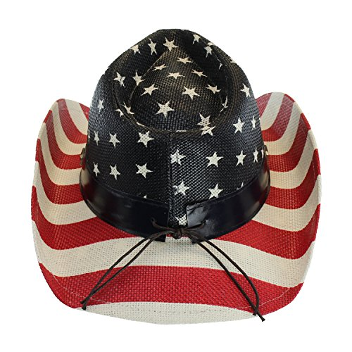 USA Shapeable Brim Cowboy Hat w/ Vegan Leather Stars & Stripes Band,  Patriotic